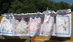 Valance with Pink and Blue Vintage Hankies by sureleeq on Etsy, $37.00