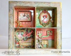 """I love """"Graphic 45 Ivory Shadow Box features"""" I wanted to make a """"Shabby Chic"""" shadow box and make simple design. by Yumi Muraeda. Chic Shadow, Shadow Box, Altered Boxes, Altered Art, Graphic 45, Time To Celebrate, Mixed Media Canvas, Mini Albums, Art Projects"""