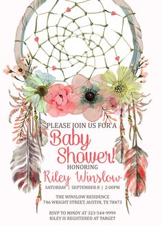 Dreamcatcher Baby Shower Invitation, Boho Baby Shower Invitation, Tribal Baby…