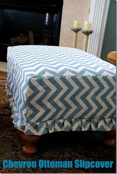 Easy ottoman slipcover tutorial - I will make this...I already have the fabric - seriously no reason not to.