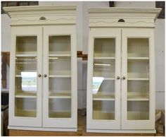 LHS and RHS Flush French Flair Wall Unit with glass doors