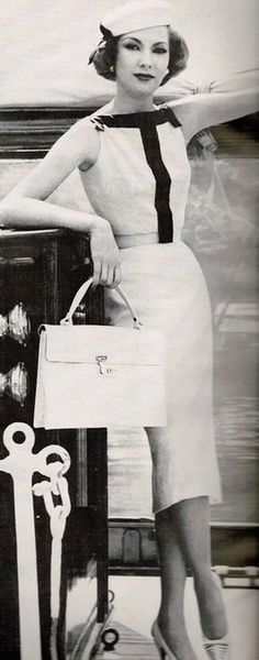 Vogue,1957 - Oleg Cassini  - Dress, bag and shoe design have survived the generations.