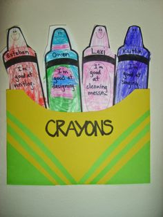 """Chipman's Corner Preschool: Cooperative Crayons """"We are a box of crayons, each on of us unique, but when we get together the picture is complete.""""  - First week lesson with The Crayon Box that Talked."""