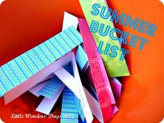 "Summer Bucket List: full day, half day, or a couple of hours...there are ideas on here to get rid of the ""I'm bored, what can we do"" question that comes every summer."