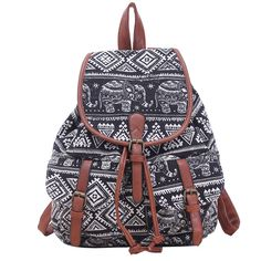 YOUR GALLERY Cute Kawaii Elephant Print Canvas Backpack Rucksack Travel Bag (Black Elephant). 100% Brand New. Material: High quality canvas. Perfect medium size for everyday use. Fashion colorful pattern, eye-catching product. Adjustable shoulder straps.
