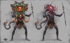 Demontaur- Battle Chasers creature contest by thiago-almeida on DeviantArt Character Creation, Character Concept, Character Art, Concept Art, Battle Chasers, Alien Races, African Masks, Character Design Inspiration, One Design