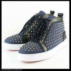 los angeles 9c07f d0d57 Christian Louboutin Blue in BlacK side Flat Shoes   Christian Louboutin  shoes, christian louboutin us