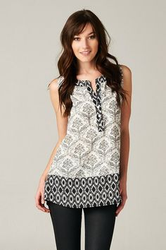 Black and White Damask Print Tunic. $32.00  - Use Code PINIT15 to save 15% Always Free Shipping!