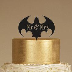 Batman wedding cake topper  mr & mrs cake topper  by LASERDESIGN1