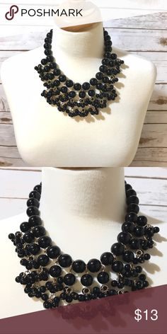 🖤Black & Gold Beaded  Necklace🖤 Statement Black & gold beaded necklace. No tarnish! Jewelry Necklaces