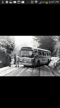 A.C. Transit bus stuck in the snow in the Oakland hills.