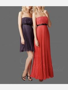 Didobridal.com: Column Strapless Cocktail Length Pleated Chiffon Bridesmaid Dress (Right)