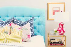 The Social Diary - Society Social, a blue tufted headboard - I love it!