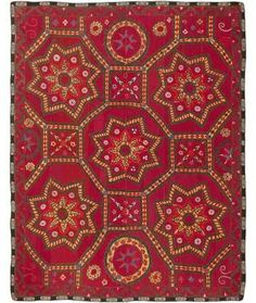 View this beautiful antique Uzbeki Suzani Embroidery 45695 from Nazmiyal's fine antique rugs and decorative carpet collection in NYC. Graphic Patterns, Textile Patterns, Textile Art, Geometric Patterns, Needlepoint Patterns, Textiles, Fabric Design, Pattern Design, Red Pattern