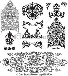 Vector - Cambodian floral pattern - stock illustration, royalty free illustrations, stock clip art icon, stock clipart icons, logo, line art, EPS picture, pictures, graphic, graphics, drawing, drawings, vector image, artwork, EPS vector art