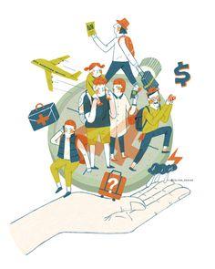 Illustration 插畫設計 家庭生活-旅遊保險