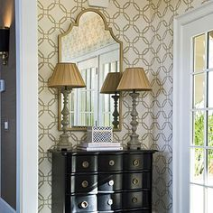 Foyer: Use Graphic Wallpaper - get major impact in small spaces. Used sparingly, a bold design won't overwhelm your room.