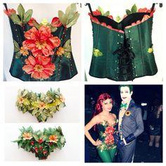 #halloween #makeit #yourown Dark Green corset, flowers, flower petals, sequins. DIY Poison Ivy costume.