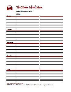 TheHomeSchoolMom: Weekly Assignment Sheet (Free Homeschool Planner)