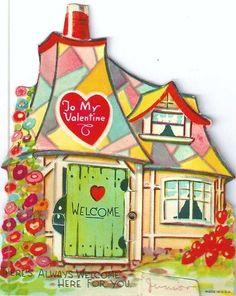 Vintage Valentine with cottage illustration.
