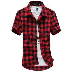 Red And Black Plaid Shirt Men Shirt Summer Style New Chemise Hommer Casual Mens Dress Shirts Fashion Camisa Social Shirt Men