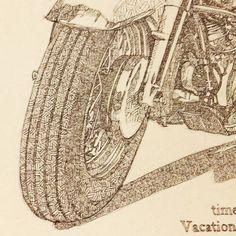 Harley Davidson drawing. Detail. #ink #inktober #blue...