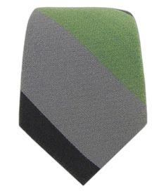 FAVORITE-- Big Wool Stripe - Moss/Black/Charcoal (Skinny) - Big Wool Stripe - Moss/Black/Charcoal (Skinny) Ties