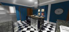 A cozinha com piso porcelanato xadrez existente foi atualizada com uma bancada gourmet em granito preto são gabriel, troca dos revestimentos existentes, dando espaço para paredes com pintura acrílica e revestimento estilo metrô.