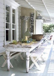 farmhouse table seating family meal white together porch