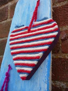 Wood and red,white and blue stripe hanging heart. 12cm x 12 cm