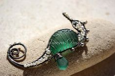 GREEN TEAL seahorse wire wrapped seaglass by PalmerasDesign, $176.00