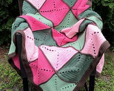 Pink and Green Basic Granny Square Patchwork Crochet Afghan