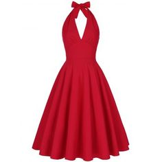 2018 Summer Sexy Beach Dress for Women Backless Plunge Halter Vintage Swing Party Dress 3 Colors Sleeveless Ball Gown Vestidos Red Backless Dress, Backless Cocktail Dress, Backless Halter Top, Red Cocktail Dress, Dress Red, Halter Neck, Dress Black, Work Christmas Party Dress, Christmas Cocktail Dresses