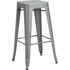 Industrial Metal 2 Pack Bar Stools - Metallic Silver