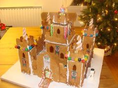 Gingerbread Castle: I made the castle last year and it was such a success! Gingerbread House Patterns, Gingerbread Castle, Christmas Gingerbread House, Holiday Ideas, Christmas Ideas, Christmas Things, Cathedrals, Theme Ideas, Bird Houses