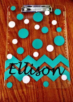 Vinyl polka dot and chevron clipboard