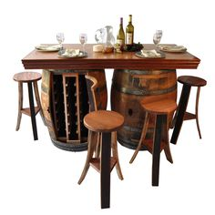 Wine Barrel Bar Island Table and Stools Wine Rack