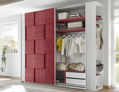 NATHEO 2 white and red adolescent design bedroom - cup board Armoire Design, Commode Design, Clothes Storage Systems, Wardrobe Rail, Bedroom Cupboards, Clothes Rail, Closet Rod, Damier, Closet System