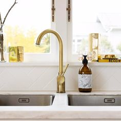 Monobloc Single Lever Tap Brushed Gloss Brass Finish | Collected by LeeAnn Yare