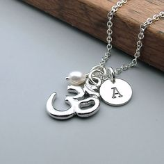 Personalized Ohm Necklace, Om Jewelry, Sterling Silver Chain, Custom Initial, Pearl, Yoga, Zen