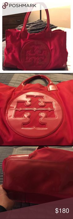 💯 Authentic Tory Burch Tote Great condition only used a few times , there is a mark on inside i believe its eyeliner . It's nylon and patent leather no rips or tears handles are perfect there are a few minor scuffs please see pics Tory Burch  Bags Totes
