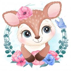 Cute Little Deer Portrait With Floral Boat Cartoon, Deer Cartoon, Cute Cartoon, Unicorn Illustration, Watercolor Illustration, Watercolor Paintings, Crown Illustration, Baby Animal Drawings, Cute Drawings