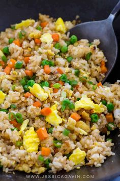 Chinese fried rice recipe made with fragrant jasmine rice carrots peas and scrambled eggs. Put down the takeout menu and make your own! via Jessica Gavin Side Dish Recipes, Asian Recipes, Healthy Recipes, Egg Recipes, Recipies, Dinner Recipes, Jasmine Rice Recipes, White Rice Recipes, Chinese Food Restaurant