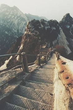 Mount Hua in Shaanxi province, China. It is one of China's Five Great Mountains, and has a long history of religious significance.