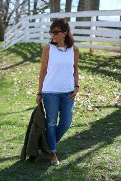 Lace Top with Distressed Jeans for women over 40
