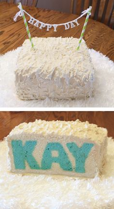 Kay cake, cake with letters, readable cake letters, could be a gender reveal or birthday