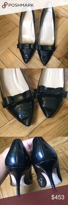Kate Spade Janira Pumps In worn but good condition. No scuffs on front or heels. Size 9B. Take confident strides in these sweet and sophisticated Kate Spade New York™ Janira pumps. Polished leather upper. Pointed toe. Bow accent at vamp. Leather lining. Leather insole. Leather outsole. Set-under covered heel. Made in Italy. Heel Height: 2 3/4 in. Weight: 7 oz. Platform Height: 1 ⁄ 4 in. kate spade Shoes Heels