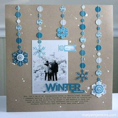 Winter Memories layout by Mary Ann Jenkins (little yellow bicycle) Scrapbook Bebe, Christmas Scrapbook, Scrapbook Sketches, Scrapbook Page Layouts, Scrapbook Paper Crafts, Scrapbook Cards, Christmas Layout, Baby Boy Scrapbook, Blue Christmas