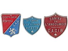 Set Of Three Vintage French Dog Show Award Plaques