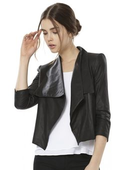 COLTON DRAPED LEATHER JACKET in BLACK by Alice + Olivia